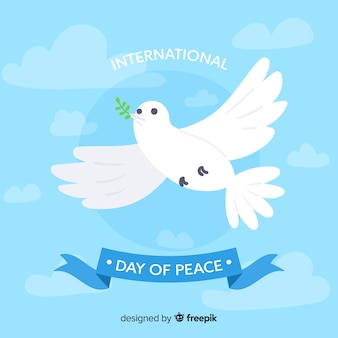 International peace day concept with white dove