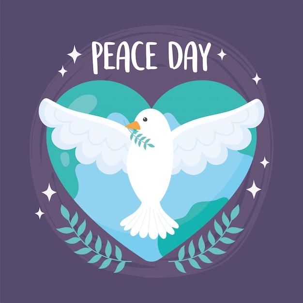 Международный день мира голубь с ветвью мира в форме сердца векторная иллюстрация
