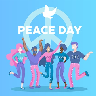 International peace day greeting card with dove symbol. five people of different races , nationalities hug together.