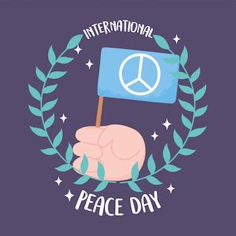Международный день мира рука с флагом и оливковыми ветвями украшения векторные иллюстрации