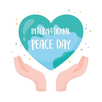 Международный день мира руки держат мир в форме сердца векторные иллюстрации
