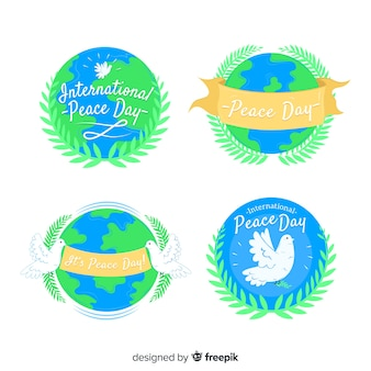 International peace day label with earth