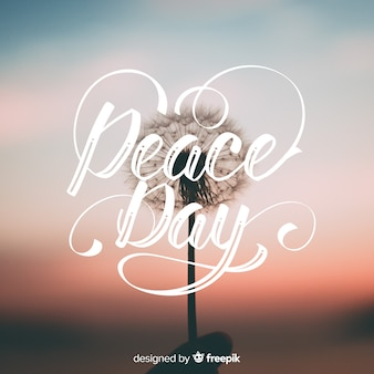 International peace day lettering background