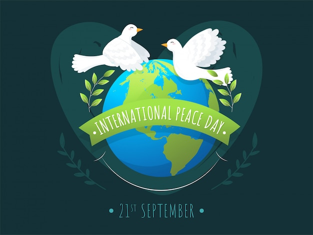 International peace day message ribbon with earth globe, olive leaves branch and flying doves on green background.