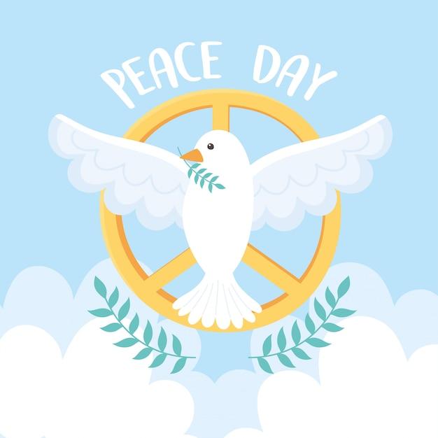 Голубь дня международного мира с ветвью золотая эмблема векторная иллюстрация