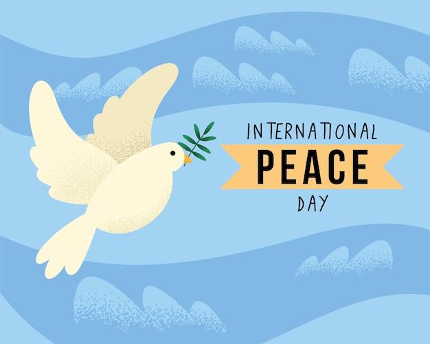비둘기와 함께 국제 평화의 날 엽서
