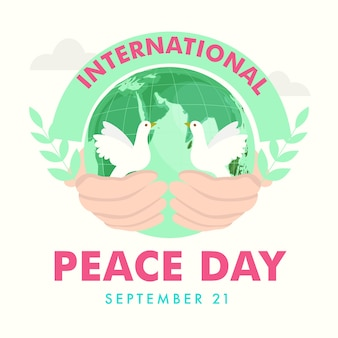 International peace day poster design with human hand holding earth globe and doves on white background.