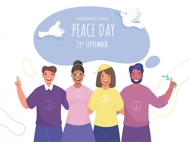 International peace day poster  with flying doves and cheerful group people in photo capturing pose.