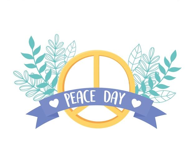 Международный день мира символ levaes листва природа лента векторные иллюстрации