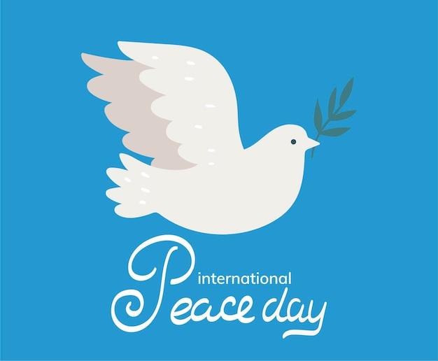 Международный день мира с голубем с оливковой ветвью