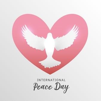 International peace day with dove cartoon