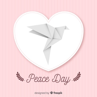 International peace day with origami dove