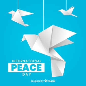 International peace day with origami doves