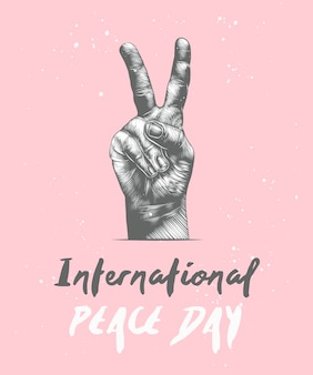 International peace day with sketch of gesture