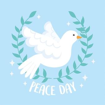 Международный день мира венок филиал оливкового и летающий голубь векторные иллюстрации