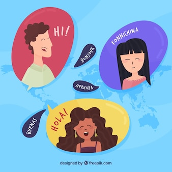 International people speaking different languages
