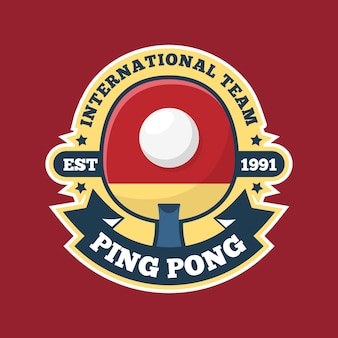 International pink pong team logo in red shades Free Vector