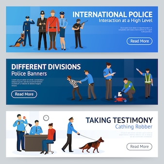 International police service flat banners set
