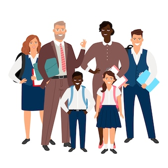 インターナショナルスクールのコンセプトです。教師と生徒のイラスト