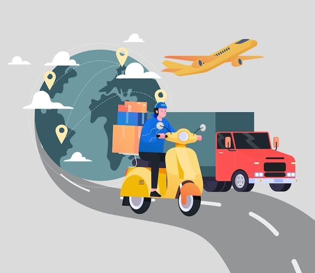 International shipping service illustration