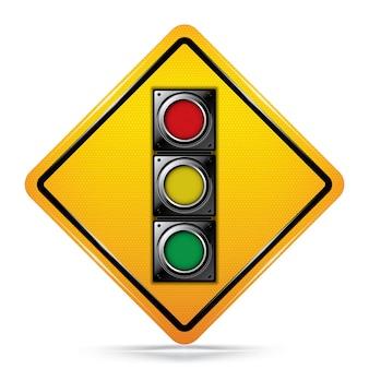 국제 신호 앞서 기호 교통 표지판입니다.