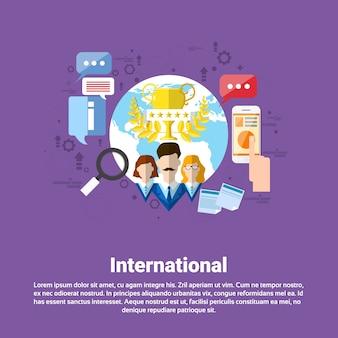 International social media network internet connection communication web banner flat vector illustra