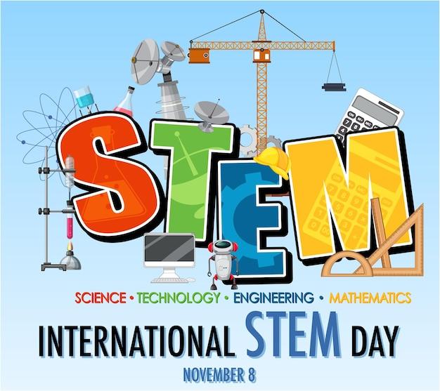 Stem 로고가 있는 11월 8일 배너의 국제 stem의 날