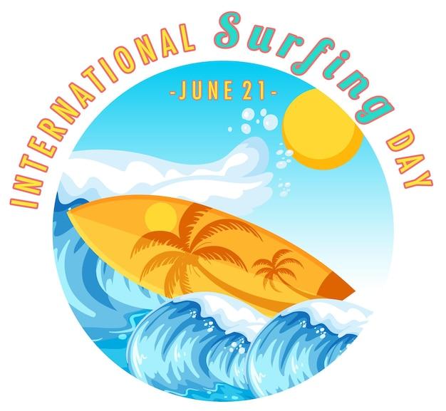 고립 된 물 파도에 서핑 보드와 함께 국제 서핑의 날 배너