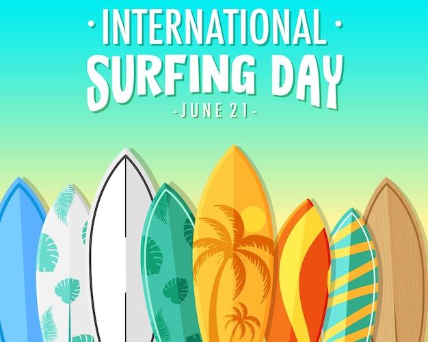 많은 서핑 보드가 있는 국제 서핑의 날 배너