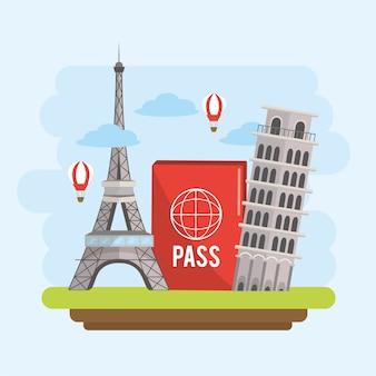 International tourist travel and passport trip