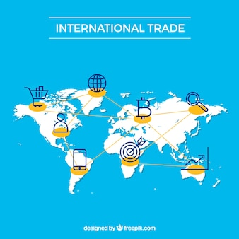 International trade concept background with map
