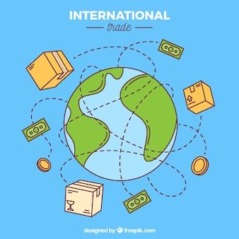 Sfondo del concetto di commercio internazionale con il mondo