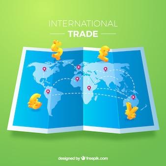 평면 디자인으로 국제 무역 개념