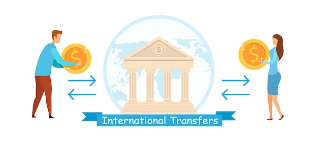 International transfers flat vector illustration