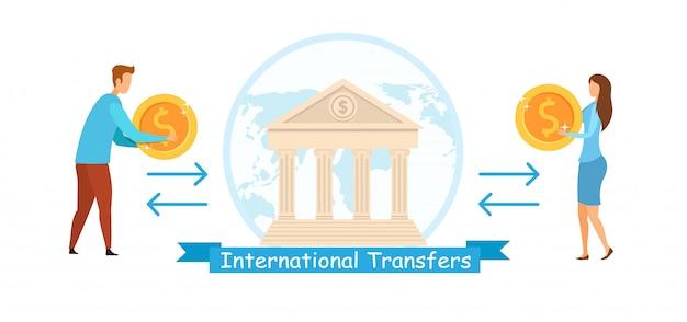 International transfers flat vector illustration