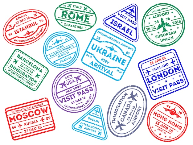 International travel stamps on white