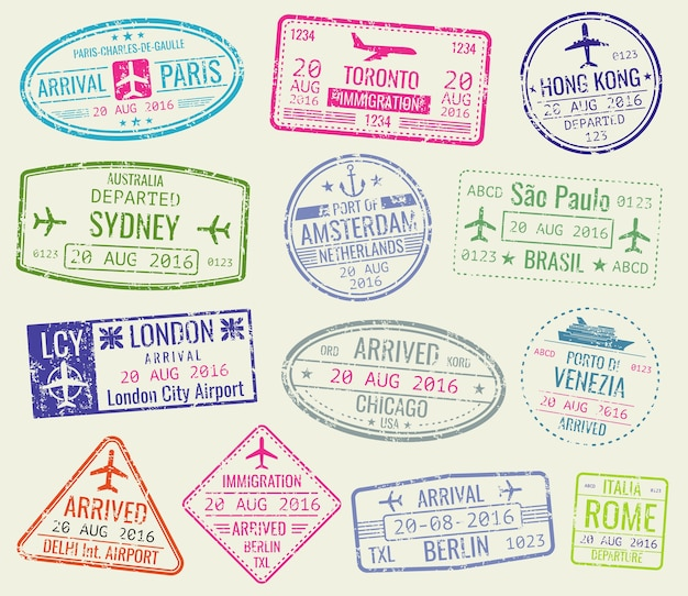 International travel visa passport stamps vector set. paris and toronto, hong kong and port of amste