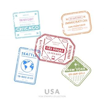 International travel visa stamps.
