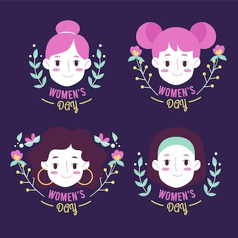 International women day badges Free Vector