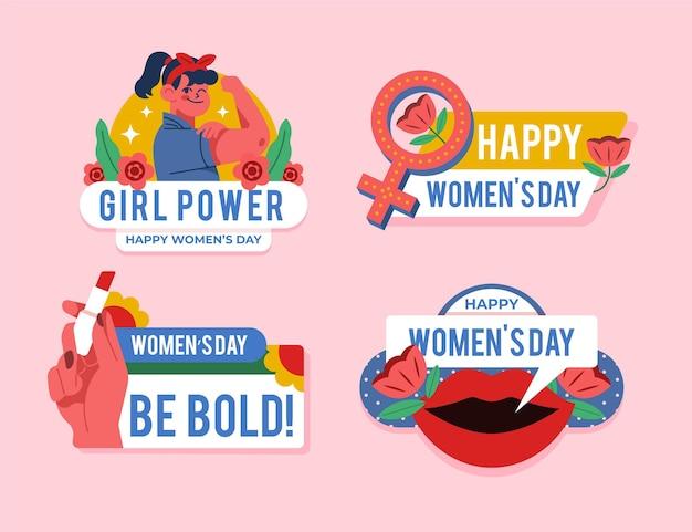 Set di etichette per la giornata internazionale della donna