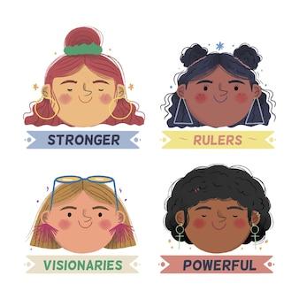 International women day labels