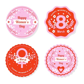 International women day labels Free Vector