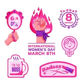Этикетки международного женского дня Premium векторы