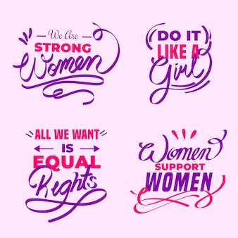 International women day lettering labels