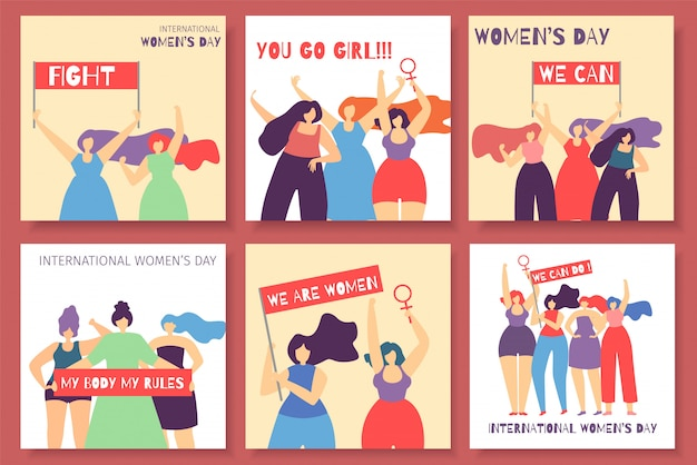 International women day motivate feminist card set