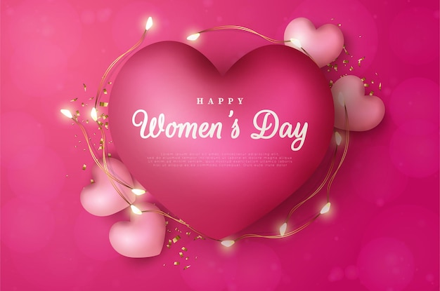 International women's day of 8 march background with love balloons decorated with lights.