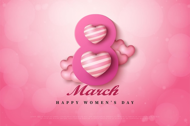 International women's day of 8 march background with numbers.