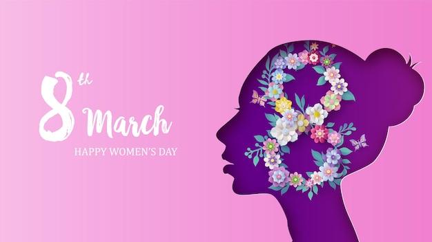 Международный женский день 8 марта с цветком и листьями, стиль вырезки из бумаги.