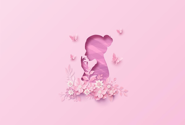 Международный женский день 8 марта с рамкой из цветов и листьев, стиль бумажного искусства.