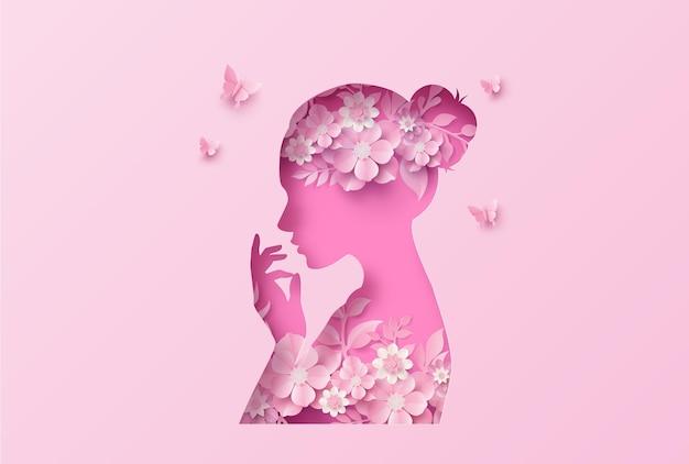 花と葉のフレーム、ペーパーアートスタイルで国際女性の日8行進。
